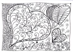 Free coloring page coloring-heart-zen. Magnificient coloring page based on drawings of hearts and other 'zen' shapes