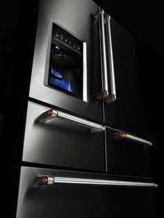 Kitchenaid Appliances Black Stainless jenn air obsidian refrigerator. love the interior color of this