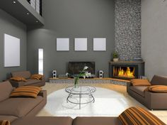 Example angled fireplace except fireplace would be smaller, set into the wall, and likely drywall above the fireplace (versus stone).
