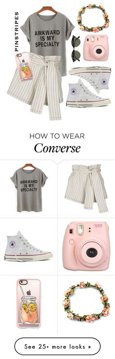 """Pinstripes contest"" by lexilulu7 on Polyvore featuring 3.1 Phillip Lim, Converse, Fujifilm, Ray-Ban and Casetify"