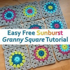 Simple and Easy Free Pattern and Photo Tutorial to Make Sunburst Crochet Granny Squares