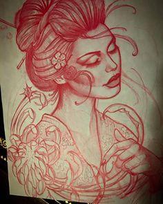 Jeff Norton Tattoo — Geisha sketch for todays tattoo. Geisha Tattoos, Geisha Tattoo Design, Tattoo Studio, Tattoo Fails, Japanese Tattoo Designs, Japanese Tattoo Art, Tattoo Sketches, Tattoo Drawings, Cyber Tattoo