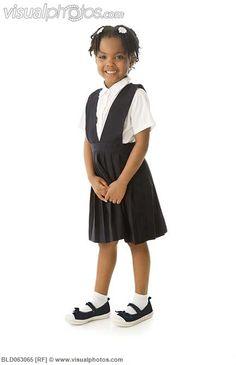 Classroom Little Girls  Uniform Bow Pocket Jumper