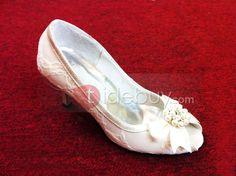 トップ品質レース アッパー ハイヒール ピープトゥ リボン チョウリボン付き結婚式ウェディング靴