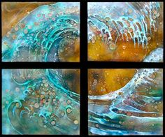 """The Wave Quartet21"""" x 25"""" Transparent and opaque enamels & """"jewels"""" on burnished copper"""
