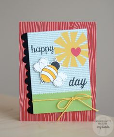 Card by Amy Tsuruta. Reverse Confetti stamp set: The Buzz. Confetti Cuts: The Buzz and Double Edge Wonky Scallop Border. Quick Card Panels: Spring Fling. Birthday card. Friendship card. Encouragement card. Bees.