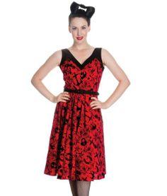 Tiger Milly Women's Hell Bunny 50's Liv Velvet Tattoo Rose Dress