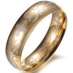 JewelryWe New 6MM Gold Tone Stainless Steel Cross Engraved Ring Unisex Mens Bridal Engagement Wedding Band Anniversary Gift (9) Jewelrywe http://www.amazon.com/dp/B00ECVWNKS/ref=cm_sw_r_pi_dp_1mgavb13FXR6R