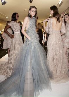 Taylor Hill backstage for Elie Saab Haute Couture Spring 2015 for Victoria's Secret Valentine's Day Love VS February 2015