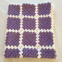 Babyblanket, 100% cotton, grannysquare, recycled materials ready to ship by ByKemp on Etsy