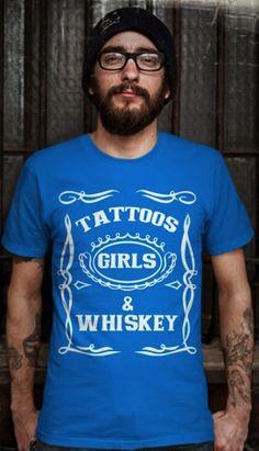 TATTOOS GIRLS & WHISKEY VINTAGE Royal printed t -shirts