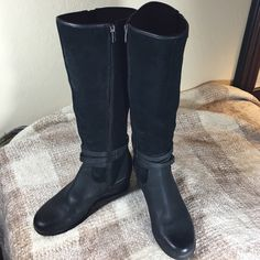 "UGG Black Suede Wedge Heel Tall 18.5"" Boots UGG Gorgeous Black Suede Boots Barely worn Talk Boots!  Beautiful Side zipper detail and a 2.75 Rubber Comfort Wedge Heel!  Small amount of Wear as photographed on the inside suede!  Can be Cleaned!  UGG Shoes Winter & Rain Boots"
