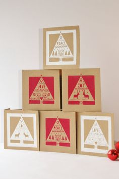 Items similar to Scandanavian style Christmas cards, set of six - screen printed, red and white, modern funky, on Etsy Free Printable Christmas Cards, Diy Christmas Cards, Xmas Cards, Holiday Cards, Christmas Crafts, Christmas Decorations, Scandi Christmas, Christmas Love, Handmade Christmas