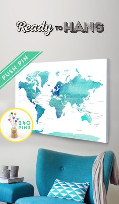 Canvas World Map Ready to Hang - Canvas Wrap - Choose Size. World Map + Countries and their Capitals + USA and CANADA STATES and Capital States.  Track your travels with the push pins and planning your next adventures!  Its the perfect gift for Anniversary, Birthday, Wedding, Housewarming,...and for children to have fun learning geography.  The CANVAS is hand stretched, ready to Hang and Pin it!   The item is composed of:  ➜ Cotton Canvas  ➜ Foam Board  ➜ Wood Frame  ➜ 240 Pins - 8 colors…