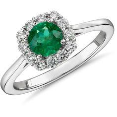 Blue Nile Emerald and Diamond Halo Ring