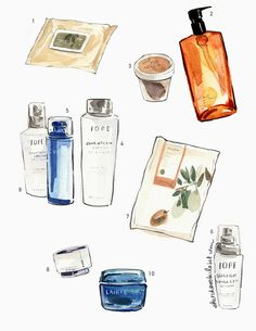 10 Steps of Korean Skincare | Illustration from my blog www.sketchbookcloset.com #watercolor #beauty #skincare