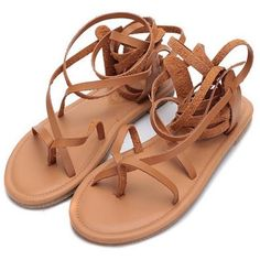 Greek Goddess Sandals herlayers ($39) ❤ liked on Polyvore featuring shoes, sandals, gladiator sandals shoes, flat footwear, flat shoes, flat gladiator sandals and roman sandals