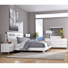 Culverden Bedroom Set w/ Accent Headboard Signature Design in Bedroom Sets. The sleek Metro Modern design along with the shining white finish created with Infinity Edge press technology whic Bedroom Wall Colors, Bedroom Color Schemes, Home Decor Bedroom, Calm Bedroom, Bedroom Bed, Master Bedroom, Modern Bedroom Design, Contemporary Bedroom, Modern Design