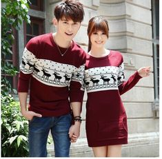 Online Shop SMTHMA 2019 winter Runway men's /women long sleeve Wine red pullovers matching deer couple christmas New Year sweaters Red Pullover, Pullover Outfit, Couples Christmas Sweaters, Christmas Couple, Christmas Clothing, Matching Sweaters, Matching Couple Outfits, Sweater Outfits, Sweater Fashion