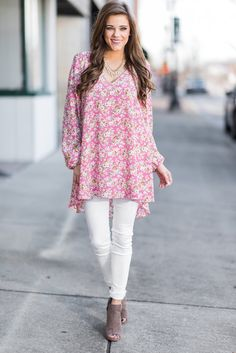 """""""On A Lovely Day Tunic, Rose"""" We honestly couldn't love this tunic more! It's gorgeous! That floral print is stunning! This has the same cut as a tunic you have shown so much love for! #newarrivals #shopthemint"""