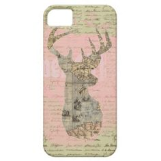 Girly vintage deer on whimsical backgound & pink iPhone 5 covers
