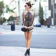 Shop this look on Fashion Imagined http://www.fashionimagined.com/collections/dresses/products/black-lace-and-mesh-mini-dress