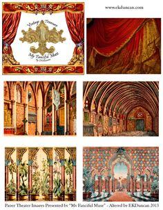 EKDuncan - My Fanciful Muse: Spanish Paper Theater Images Part 1 - Paluzie, Barcelona - Would be cool to use these as skit backgrounds! Paper Dolls Printable, Printable Art, Toy Theatre, Shadow Theatre, Paper Art, Paper Crafts, Foam Crafts, Paper Doll House, Paper Houses