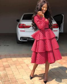 Chic and Modern shweshwe dresses Fashion - Our Nail Latest African Fashion Dresses, African Dresses For Women, African Print Dresses, African Print Fashion, Africa Fashion, African Attire, Nigerian Fashion, Ankara Dress Styles, Ankara Tops