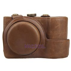 NI5L Faux Leather Camera Case Bag with Strap Coffee for Samsung Galaxy EK-GC100