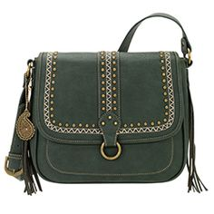 Bandana by American West Women's Missoula Crossbody Flap Bag - Forest Green Crossbody Shoulder Bag, Shoulder Handbags, Crossbody Bag, Green Purse, Green Handbag, Fringe Handbags, Purses And Handbags, American West Handbags, Polka Dot Purses