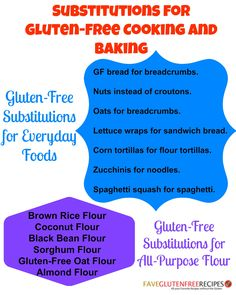 Substitutions for Gluten-Free Cooking and Baking More
