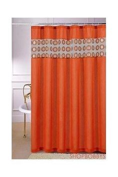 Natali Circles Design Shower Curtain, Orange, 70x72 #SallyTextileInc