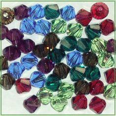 48 4mm Xilion 5328 Jewel Mix Swarovski Crystals Bicone Pink Purple Green Brown