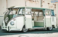 white and green vw bus shiney beautiful
