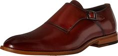 Stacy Adams Men's Dinsmore Plain Toe Monk Strap Slip-On Loafer, Cognac, 12 M US