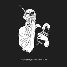 """You deserve it."" he said ""someone has to control you when you're like that."" -shit he says when hes drunk. The Skulls, Illustrations, Illustration Art, Dark Drawings, Skeleton Art, Skull Wallpaper, Sad Art, Kawaii, Objet D'art"