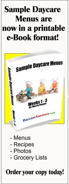 sample daycare menus  Maybe I can use some of these, some I would feed to my own kids, let alone anyone else. Haha