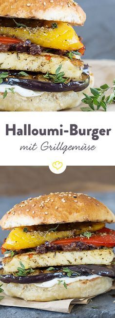 Du liebst Halloumi? Dann musst du diesen Burger probieren? Mit gegrillter Paprika, Aubergine,  Zaziki und einem Feigen-Oliven-Relish hat der Grillkäse es sich zwischen zwei Burgerbuns bequem gemacht. Lecker!