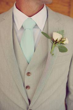 corbata del novio en color verde menta
