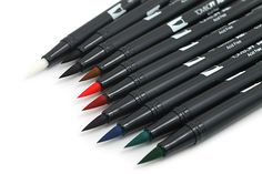 Tombow's Dual Brush pens are available in a dazzling array of colors, and are appreciated by fine artists and crafters alike for good reason. They are wonderful for illustrating, drawing, rubberstamping, and other artistic endeavors.