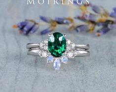 HANDMADE RINGS & BRIDAL SETS by MoissaniteRings on Etsy Bridal Ring Sets, Handmade Rings, Emerald, Etsy Seller, Engagement Rings, Floral, Merry, Jewelry, Fashion