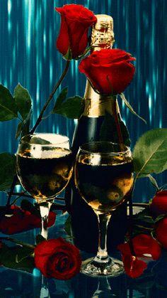 rosas y champaña imagenes con movimiento