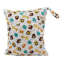 OhBabyKa Baby Diaper Bags Printed Double Zippered Wet/Dry Bag Waterproof Wet Cloth Diaper Backpack Reusable Diaper Cover WetBag