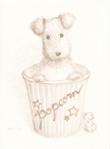 dog art, Wire-haired Fox Terrier drawing, the original picture available at ART-Meter; http://en.art-meter.com/works/?ID=AW073603