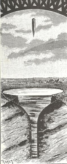 """M.Carron's bullet capsule would be released from the top of the interior of the Tower, about 1000 feet high, and released to fall into an excavated pool 150' across and 200' deep.  The idea was that in addition to the springs inside the capsule, the water would act as a """"shock absorber"""", and so """"the shock felt by the occupants on landing will be in no way unpleasant""""."""