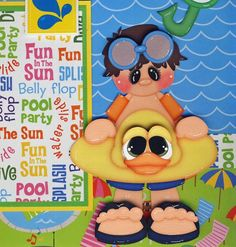 POOL GEAR ~ BOY  2 premade scrapbook pages paper piecing 4 album swimming CHERRY