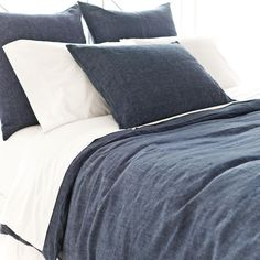 Pine Cone Hill | Chambray Linen Ink Duvet Cover | A rich, color-drenched duvet cover in our perennial favorite, machine-washable linen. Knife edge, hidden-button closure.