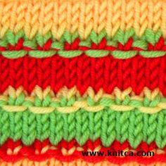 Right side of knitting stitch pattern - Slip Stitch 5