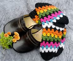 Ravelry: Treble Stripe Socks pattern by Simone Francis Crochet Leg Warmers, Crochet Boot Cuffs, Crochet Boots, Knitting Socks, Free Knitting, Knitting Patterns, Crochet Patterns, Crochet Sock Pattern Free, Easy Crochet Slippers