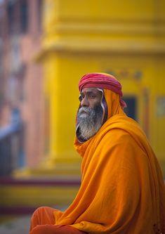 Portrait Of Sadhu Holy Man Along Ganges, Varanasi, India - By Eric Lafforgue